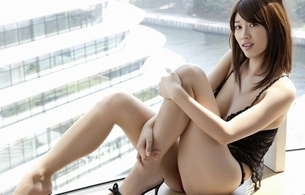 mikie hara, asian, brunette, lingerie, widescreen cut, exotic, sexy babe