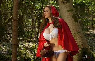 girls, lingerie, tits, hot, bigs, lingerie, red, jordan carver, forest, trees, outdoor, little red riding hood