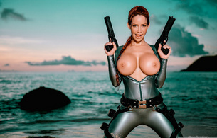 bianca beauchamp, latex, tomb rider, big, tits, redhead, outdoor, sea, water, wet, guns, sand, fantasy, mellons, jugs, rubber, fetishqueen, weapons, fetish, shiny, tomb raider, cosplay, tomb raider set, canadian, model, sexy babe, girls and guns, lara croft, boobs, big tits, super boobs