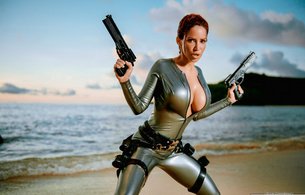 bianca beauchamp, latex, tomb rider, tits, redhead, outdoor, sea, water, wet, guns, sand, fantasy, rubber, fetishqueen, fetish, shiny, tomb raider, cosplay, tomb raider set, canadian, model, sexy babe, girls and guns, fetish babe, lara croft, boobs, big tits, beach