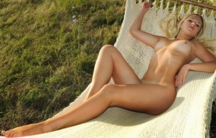 blonde, sexy girl, nude, naked, legs, hips, navel, boobs, tits, bust, nipples, outdoors, long hair, juicy, beauty, hot, olga q, hammock, tan lines