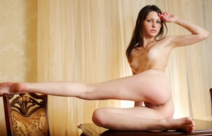 ida a, met-art, nude, naked, brunette, boobs, tits, bust, chair, necklace, curtains, desk, feet, pussy, ass, vagina