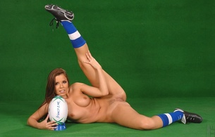 rugby, ball, shoes, socks, nude, tits, pussy, sexy, spreading legs