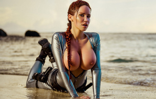 bianca beauchamp, redhead, boobs, beach, busty babe, lara croft, tomb rider, guns, latex, fetish, rubber, shiny, tomb raider, cosplay, tomb raider set, big boobs, knockers, funbags, fake boobs, big tits, canadian, model, fetishqueen, super boobs