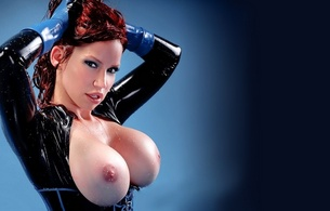 big boobs, latex, sexy, bianca beauchamp, red hair, busty babe, canadian, model, redhead, sexy babe, fetishqueen, shiny, rubber, catsuit, topless, close up, big boobs, knockers, funbags, fake boobs, big tits, widescreen cut