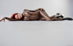 bianca beauchamp, latex, boots, model, red head, boobs, busty babe, rubber, fetishqueen, catsuit, ankle boots, pvc, fullsuit, c-tru, canadian, model, redhead, sexy babe, minimalist wall, clear latex, fetish babe