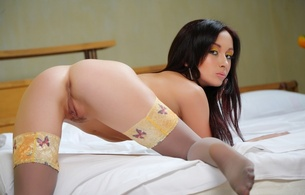 brunette, hot, sexy, stockings, pussy, ass, ciklos, night a, delicious, nylon, collant, long hair, perfect ass, tippy toes, ass wallpaper, agatha d, doggy, doggy style, bed