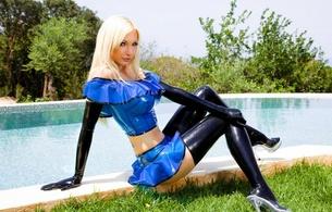 susan wayland, blue, pool, latex, sexy, blonde, gloves, rubber, fetish, fetish babe