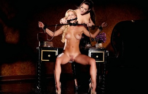 sexy, nude, bondage, dani daniels, cherie deville, bdsm, dildo, table, flowers, удачный вид, lesbian, girl girl pics