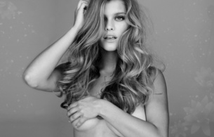 long hair, sexy, boobs, hand, nina agdal, black and white, brownette