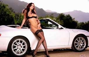 jayden cole, white car, tits, nude, sexy, stockings, sexy, hot, convertible, lingerie, holly randall