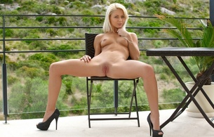 hot, blonde, legs, beauty, pussy, tits, spreading, heels, grace c, chair, table, plant, annely gerritsen, pinky june, pinky june, anneli, annely gerritsen, shaved, pussy up