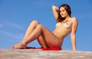 zlatka, sexy, nude, pose, curvy, brunette, boobs, tits, outdoors, zlatka a