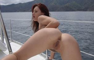 karlie montana, ass, pussy, outdoor, pornstar, adult model, arse, doggy, bending, sea, close up, hot, ass wallpaper, redhead
