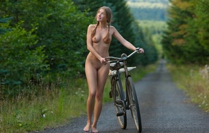 laetitia a, irena, bike, tits, model, smile, outdoor, bicycle, ponytails, umbrella, elisa, alisha, elisa a, eliska, elissa, laetitia, latika, liv