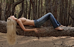 colette, nell, blonde, hot, tits, boobs, sexy, cute, model, outdoor, jeans, nipples, puffy nipples, tree, forest