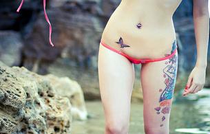 sexy, bellybuton, sakura redd, butterfly, bikini, micro bikini, piercing, tattoo