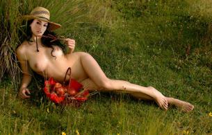 megan fox, sexy, nude, actress, fake, boobs, grass, outdoor, fruits, hat