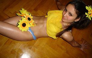 panties, flowers, smile, floor, yellow, brunette, sexy