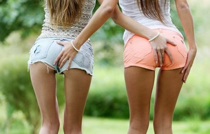 models, lesbian, ass, shorts, back, outdoor, maria, abby, two, two ases, two asses, two arse grab, maria ryabushkina, katherine a, kathy i, krystal boyd, snejanna