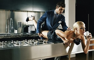 love, coffee, sex, kitchen, blond, couple