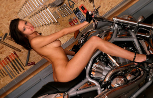 eufrat, jana hall, brunette, gorgeous, beautiful, sexy, hot, sensual, perfect, breasts, nipples, cleavage, body, legs, ass, high heels, motorcycle, bike, model