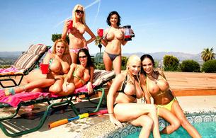 angelina, shyla, girlfriends, big tits, pool, perfect, pornstars, angelina valentine, shyla stylez, lylith lavey, 6 babes, posing, topless, nice tits, nipples, shyla stylez