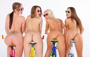 celeste star, dani daniels, destiny dixon, sammie rhodes, nude, asses, four, bicycle, lineup, four asses, glasses, tattoo, minimalist wall, 4 babes, tramp stamp, hot, ass wallpaper
