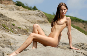 anya, brunette, sexy girl, hot, delicious, natural, nude, outdoor, beach, irina buromskih, tits, sexy legs
