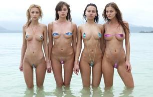 microbikini, group, girls, beach, anna aj, ivette, paulina, angelica, skinny, delicious, sexy, small tits, tiny tits, perfect girl, 4 babes, micro bikini, outdoor, sand, beach, water, photoshopped, krystal boyd, anna s