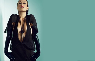 olivia wilde, actress, brunette, beautiful, fotoshoot, posing, black, robe, latex, gloves, decollete, necklace