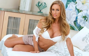 nicole aniston, sexy girl, lingerie, bed, boobs, big tits, blonde, blue eyes, non nude