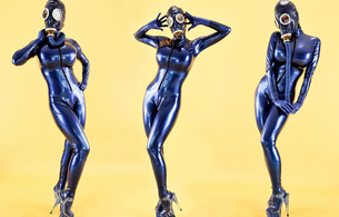 bianca beauchamp, three, collage, mask, latex, suit
