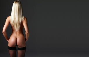 blonde, nude, back view, back, ass, stockings, evi, evi b, perfect ass, perfect girl, perfect body