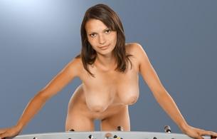 katani, brunette, nude, naked, girls, sexy, amateur, model, fussball, fussball table, boobs, big tits, boobs, big tits