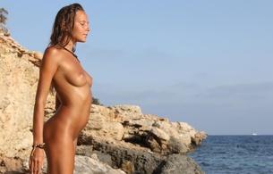 mango, blonde, nude, side view, tits, legs, smile, sea, beach, mango a, clover, caramel, katya, katya clover