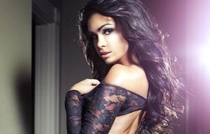 brunette, sheer, black lingerie, sexy, non nude, mila ryzhkova
