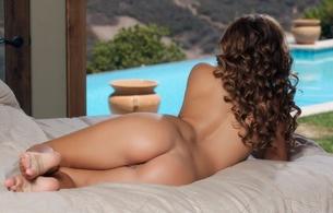 keisha grey, brunette, sexy girl, nude, naked, ass, butt, buttocks, arse, back, curl, hot, ass wallpaper
