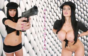 aletta ocean, model, babe, big tits, sexy, pornstar, gun, hat, melons, jugs, norks, gazongas, knockers, hooters, funbags, glamour, breathtaking fake boobs