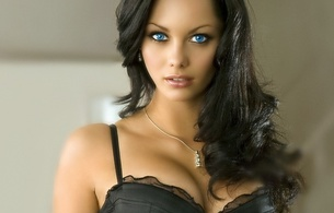 jessica jane clement, eyes, brunette, face, breast, cleavage, blue eyes, close-up