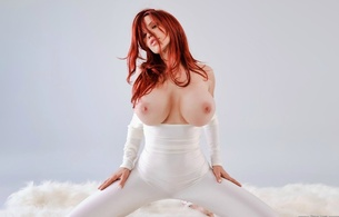 bianca beauchamp, white outfit, tits, red hair, fur, model