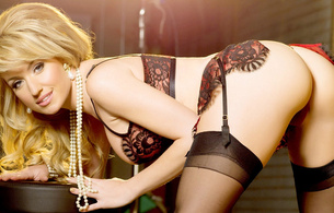 angela sommers, lingerie, girl, stockings, ass, pose, blonde, necklace, beads, bending, erotic, ass wallpaper, pornactress, adult model, bend forward, smile, lingerie series