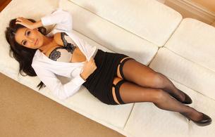 charlotte springer, stockings, legs, skirt, bra, girls, heels, cleavage, brunette, onlytease model