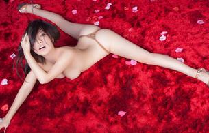 girl, sexy, sweet, cute, asiangirls, heels, legs, spreading, panties, brunette, boobs, breasts, petals