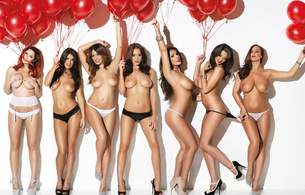 lucy pinder, friends, balloons, tits, sexy, heels, models, rosie jones, holly peers, india reynolds, lucy collett, joey fisher, stacey poole