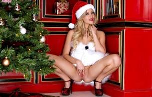 mia malkova, santa, christmas, spread pussy, heels, squat, hot legs
