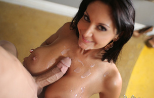 ava addams, hot milf, brunette, cum, cum shot, sperm, dick, cock, penis, tits, boobs, breasts, nipples, smile, brunette, bruce venture, white rain
