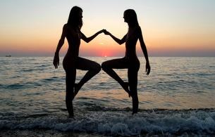 nude, side, lesbian, art, sunset, beach, sea, legs, silhouette, nika, lidda