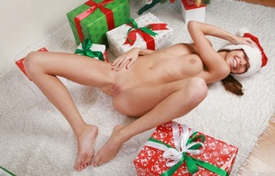 natasha l, smile, brown hair, christmas, shaved pussy, young, skinny, russian, spread, carpet, presents, feet, navel, lying, nice, santas helper, spreading legs, pussy, labia