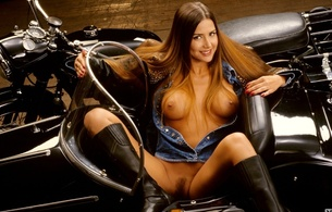 cindy sue rich, playboy, bike, side car, pussy, tits, long hair, legs, boots, smile, brownette